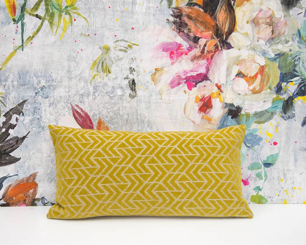 Kreatelier Geometric Pillow in Chartreuse - 11 x 21in