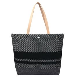 Verloop Crosshatch Leather Tote Black
