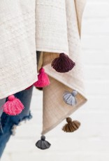 Mer Sea Travel Wrap with Tassels - Berry-Multi
