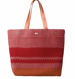 Verloop Crosshatch Leather Tote Red