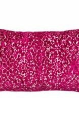 Kreatelier Cut Velvet Pillow in Fuschia - 15 x 22in