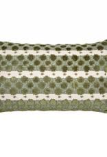 Kreatelier Splotch Stripe Pillow in Green  - 11 x 21in