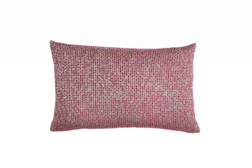 Kreatelier Dot Pillow in Grey and Fuschia - 15 x 22in
