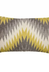 Kreatelier Geometric Pillow in Grey and Mustard - 14 x 22in