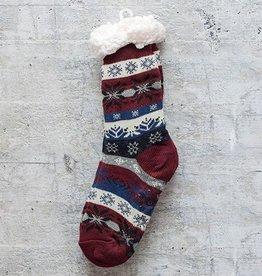 Snoozies Sherpa Lined Nordic Socks Maroon
