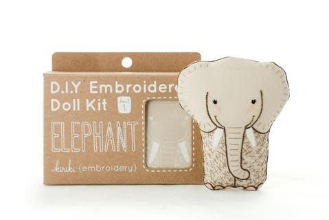 Kiriki Press DIY Embroidered Doll Kit Elephant