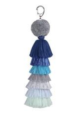 Verloop Tassel Bag Charm Metallic Blue