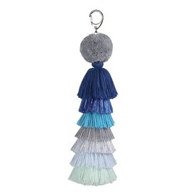 Verloop Tassel Bag Charm Metallic Blue