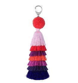 Verloop Tassel Bag Charm Red Violet