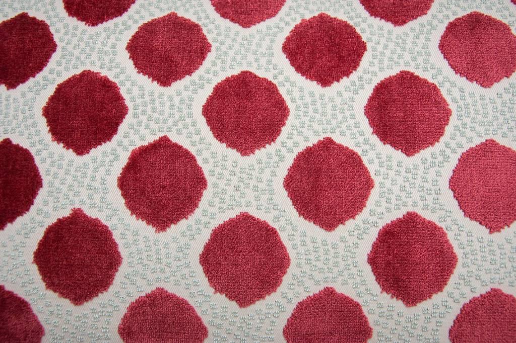 Kreatelier Dot Pillow in Red Mint Velvet - 14 x 22in