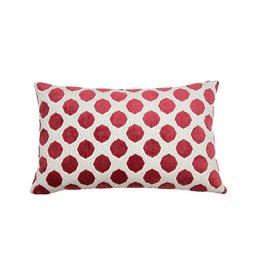 Kreatelier Dot Pillow in Red Mint Red Back Velvet - 14 x 22in