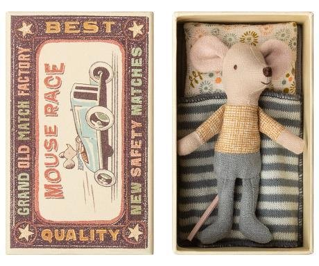 Maileg Mouse Little Brother Blue Pants in Box