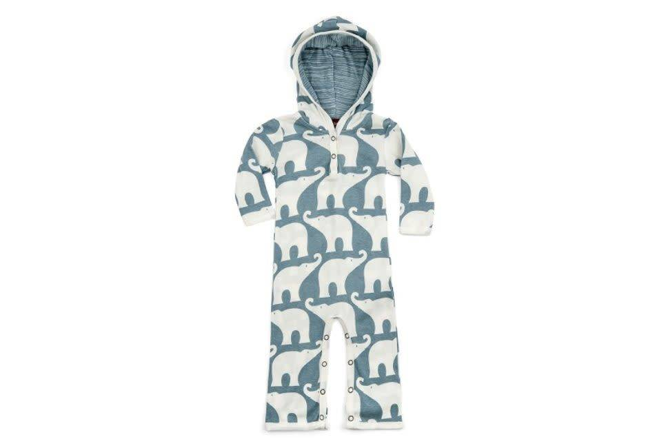 Milkbarn Hooded Romper Blue Elephant