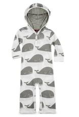 Milkbarn Hooded Romper Grey Whale