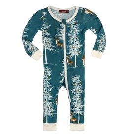 Milkbarn Bamboo Zipper Pajama Chrsms Buck