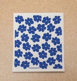 Three Bluebirds Swedish Dishcloth Poppies Blue