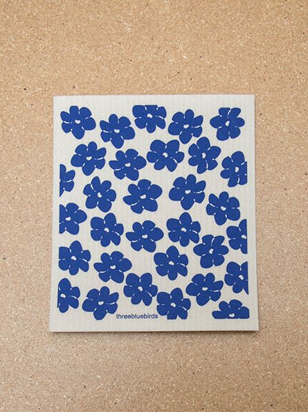 Three Bluebirds Swedish Dishcloth Poppies Blue