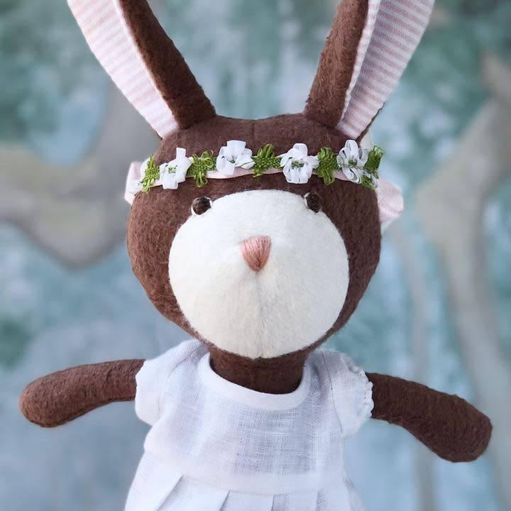Hazel Village Stuffed Animal Zoe Rabbit in Spring Dress