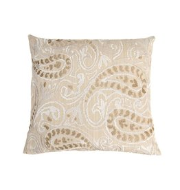 Kreatelier Embroidered Pillow in Natural - 16 x 16in