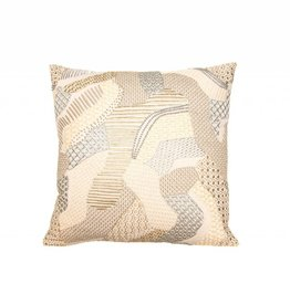 Kreatelier Embroidered and Beaded Pillow in Natural - 18 x 18in