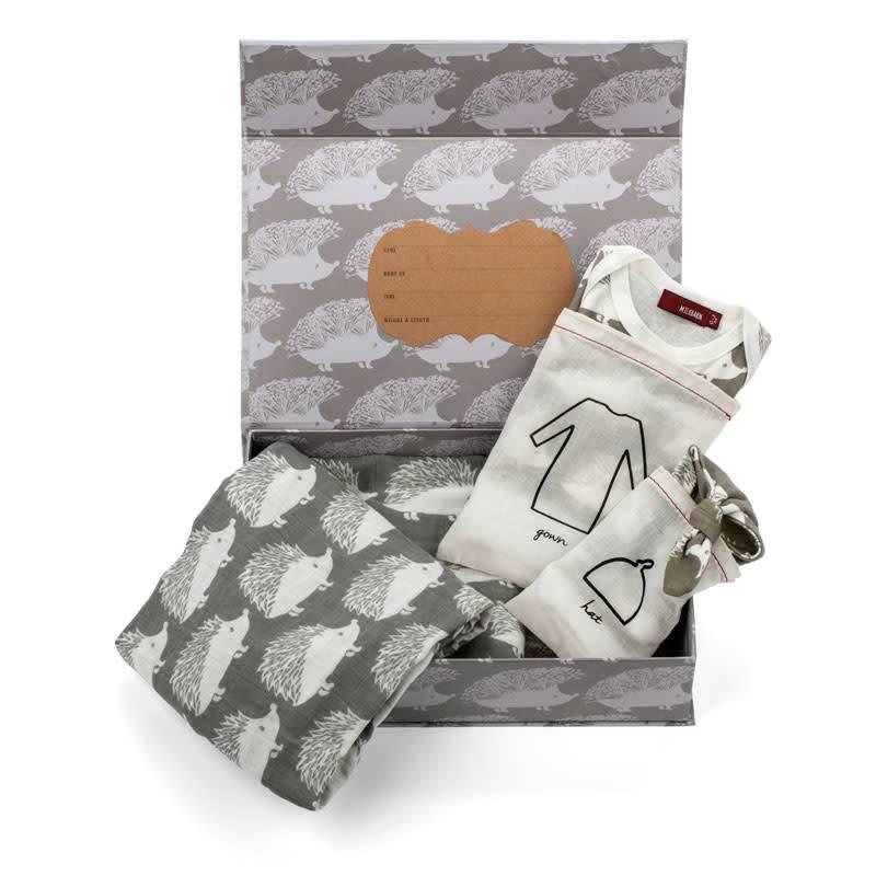 Milkbarn Keepsake Set in Grey Hedgehog