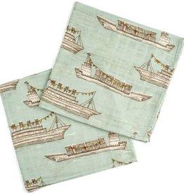 Milkbarn Burp Cloths Bamboo + Cotton Blue Ships