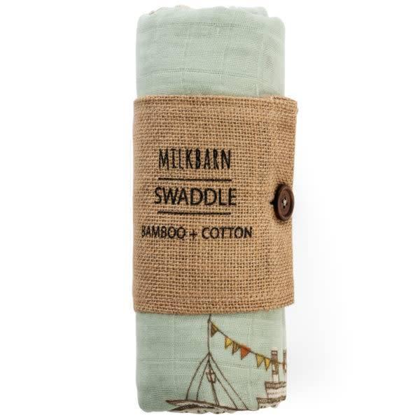 Milkbarn Bamboo Swaddle Blanket Blue Ships