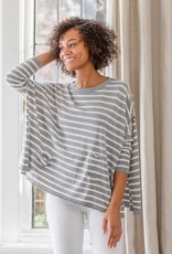 Crewneck Travel Sweater Grey and White Stripes