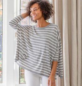 Mer Sea Crewneck Travel Sweater Grey and White Stripes