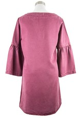 Side Stitch Banded Bell Sleeve Dress Red Rock