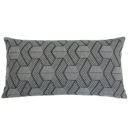 Kreatelier Geometric Pillow in Grey and White - 11 x 21in