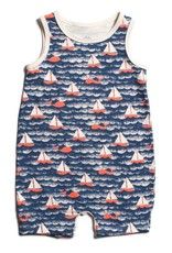 Winter Water Factory Tank Top Romper Sailboats Navy & Orange