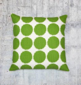 Kreatelier Large Dot Pillow in Green and White - 18 X 18in