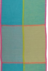 Fraas Bright Blocks Scarf Turquoise