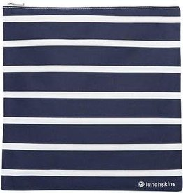 Lunchskins Reusable Gallon Bag Stripe Navy (Zippered)