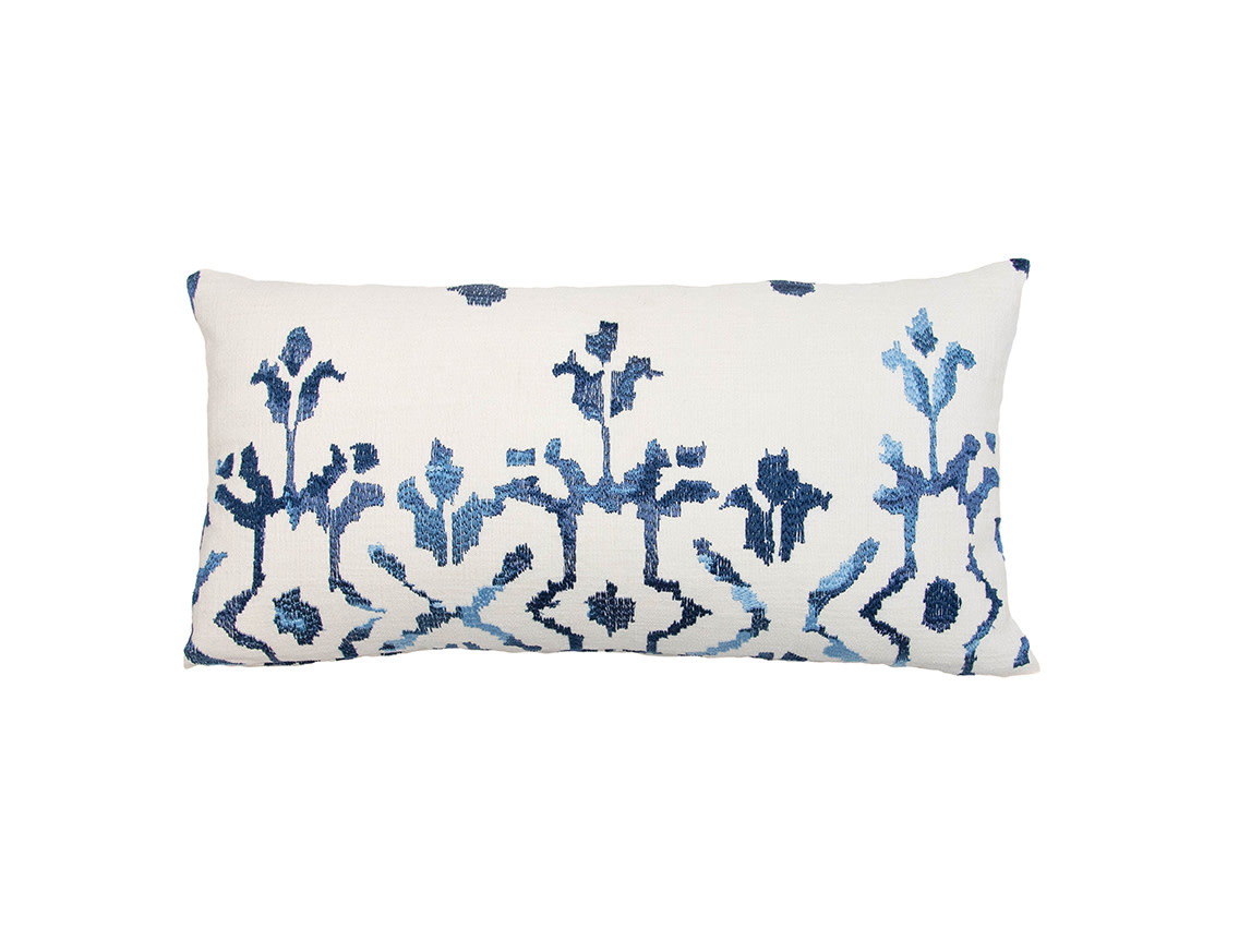 Kreatelier Embroidered Pillow in Blue and Cream - 11 x 21in