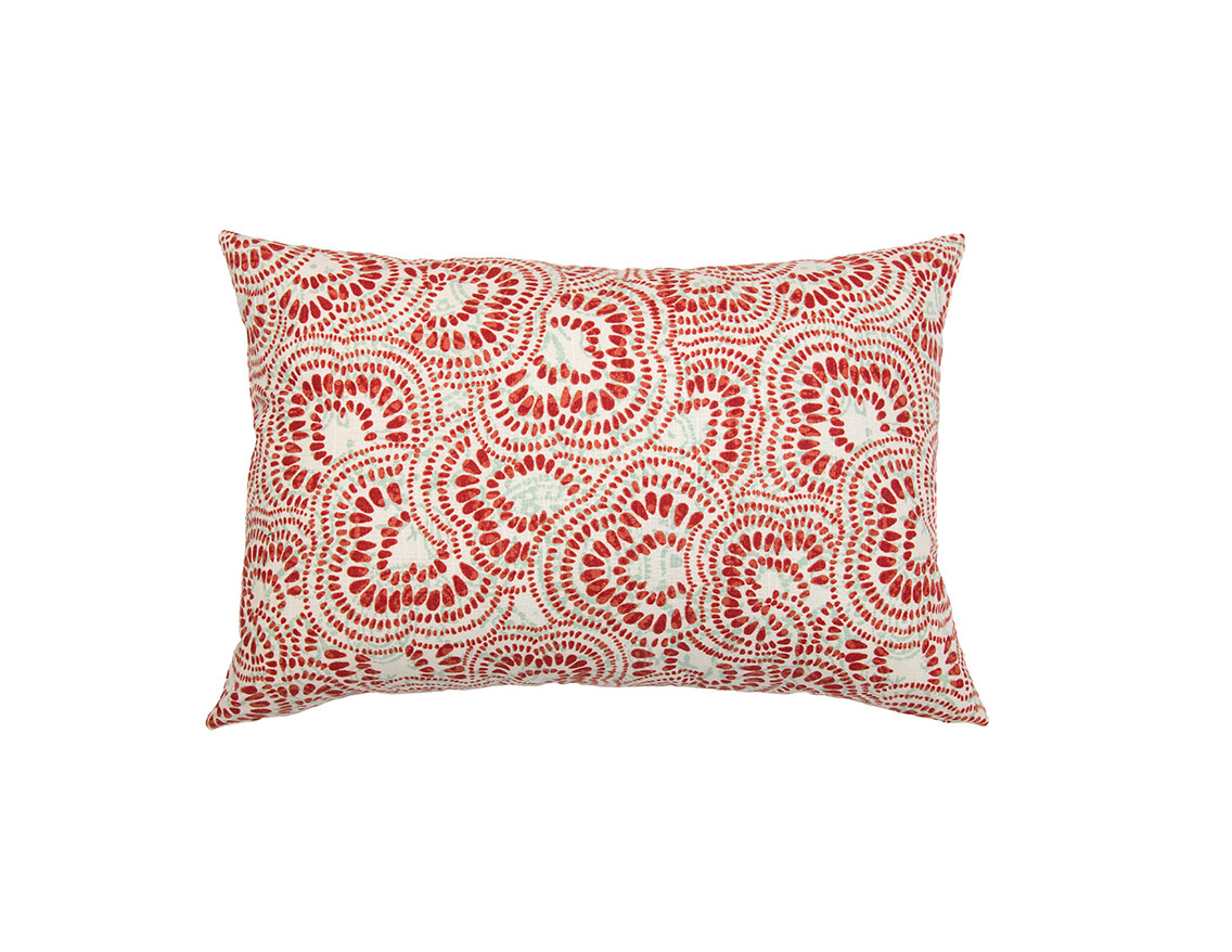 Kreatelier Swirl Pillow in Red and Turquoise - 15 x 22 in