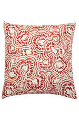 Kreatelier Swirl Pillow in Red and Turquoise - 18 x 18in