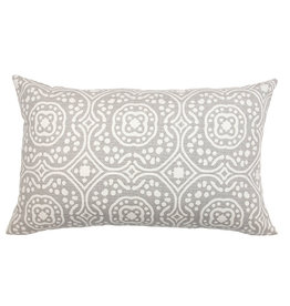 Kreatelier Moroccan Pillow in Grey and Cream - 14 x 22in