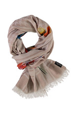 Fraas Painted Houndstooth Scarf Taupe