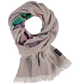 Fraas Painted Houndstooth Scarf Grey