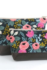 Red Staggerwing Cosmetic Clutch Small in Bright Floral