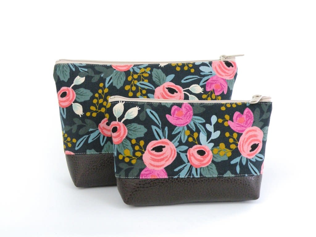 Red Staggerwing Cosmetic Clutch Large in Bright Floral