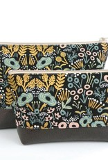 Red Staggerwing Cosmetic Clutch Large in Metallic Floral