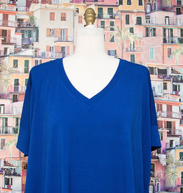 Nally and Millie V Neck Poncho Top Blue