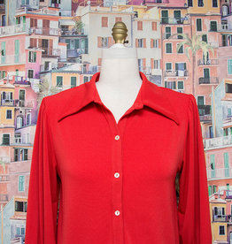 Nally and Millie Button Down Cuff Slv Blouse Red