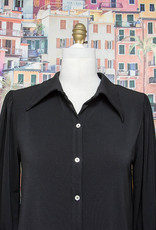 Nally and Millie Button Down Cuff Slv Blouse Black