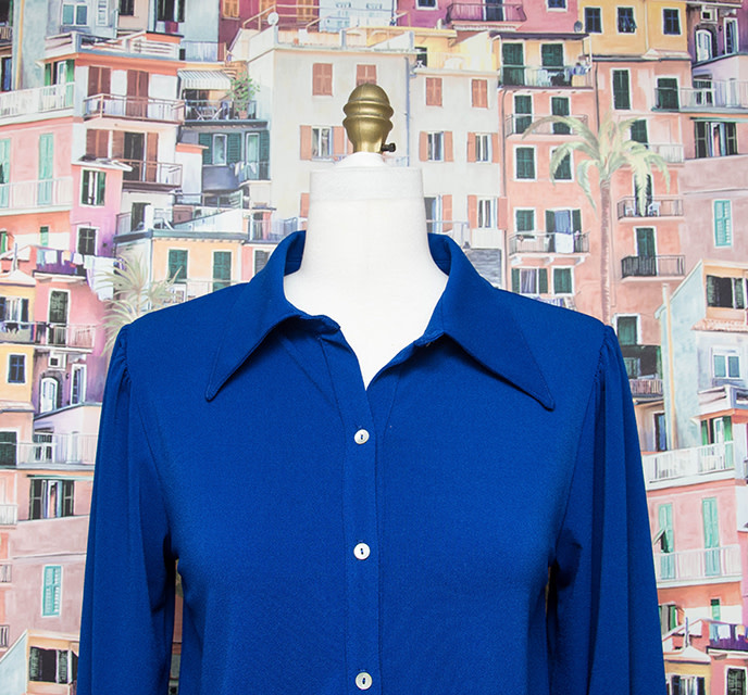Nally and Millie Button Down Cuff Slv Blouse Blue