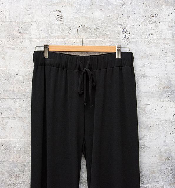 Nally and Millie Drawstring Wide Leg Pant Black