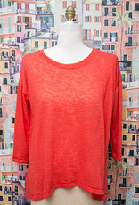 Nally and Millie Over Size Light Open Knit Top Red